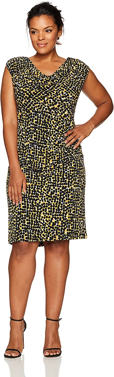 Kasper Womens Plus Size Cap Sleeve Splatter Print Ity Dress Dress