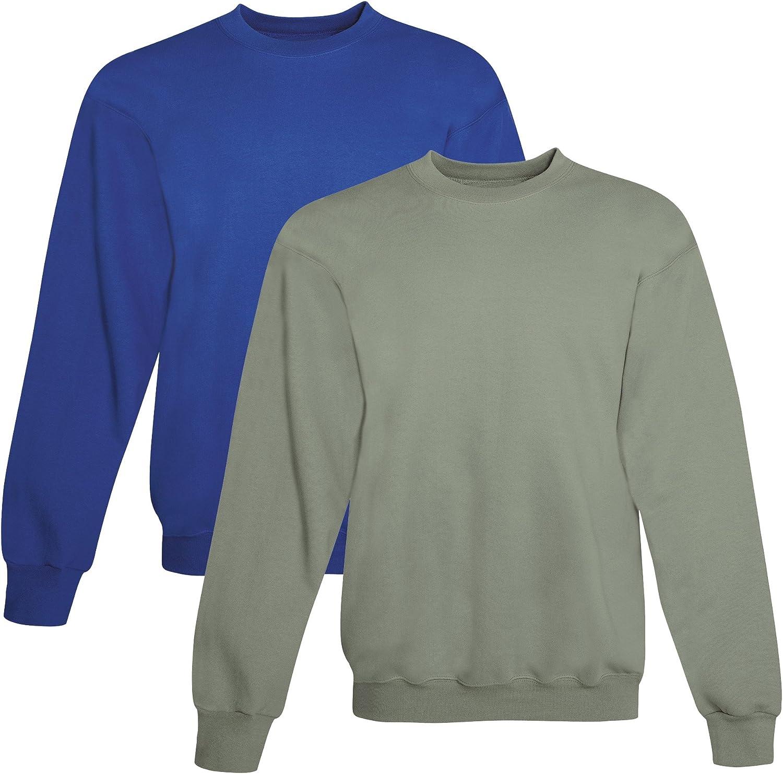 Hanes mens 7.8 oz. ComfortBlend EcoSmart 50/50 Fleece Crew (P1607) DEEP ROYAL/STONEWASH GREEN