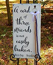 Cord of Three Strands Wood Wedding Beveled Board With detachable Braids Shabby White