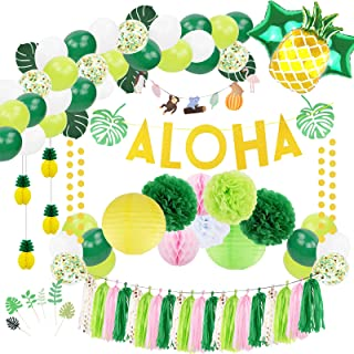Hawaiian Summer Party Decorations, Tropical Balloons Garland with Palm Leaves, Aloha Banner, Pineapples Balloons, Tassel Garland, Pom Poms, Lanterns, Luau Theme Party Decor (Green, Yellow)