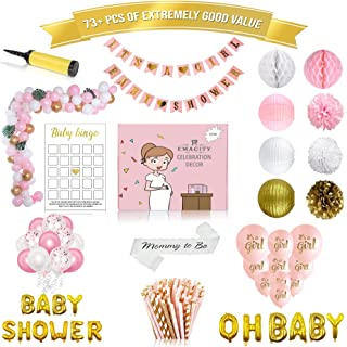 Premium Baby Shower Decorations Pink and Gold   Full Set Including 120 Balloons  It's A Girl-Banner, Pom Poms, Lanterns, Etc. For Birthday Parties,Newborns 0 - 18 Months  Gift Wrapping Available