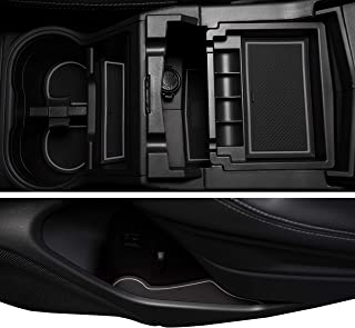 Custom Fit Cup, Door, and Console Liner Acessories for 2019 2020 Subaru Forester (Gray Trim)