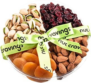 Nut Cravings Holiday Fruit and Nuts Gift Basket | Medium Variety Of 4-Section Gourmet Prime Assorted Dried Fruit tray | Great for Thanksgiving, Christmas, Mothers & Fathers Day