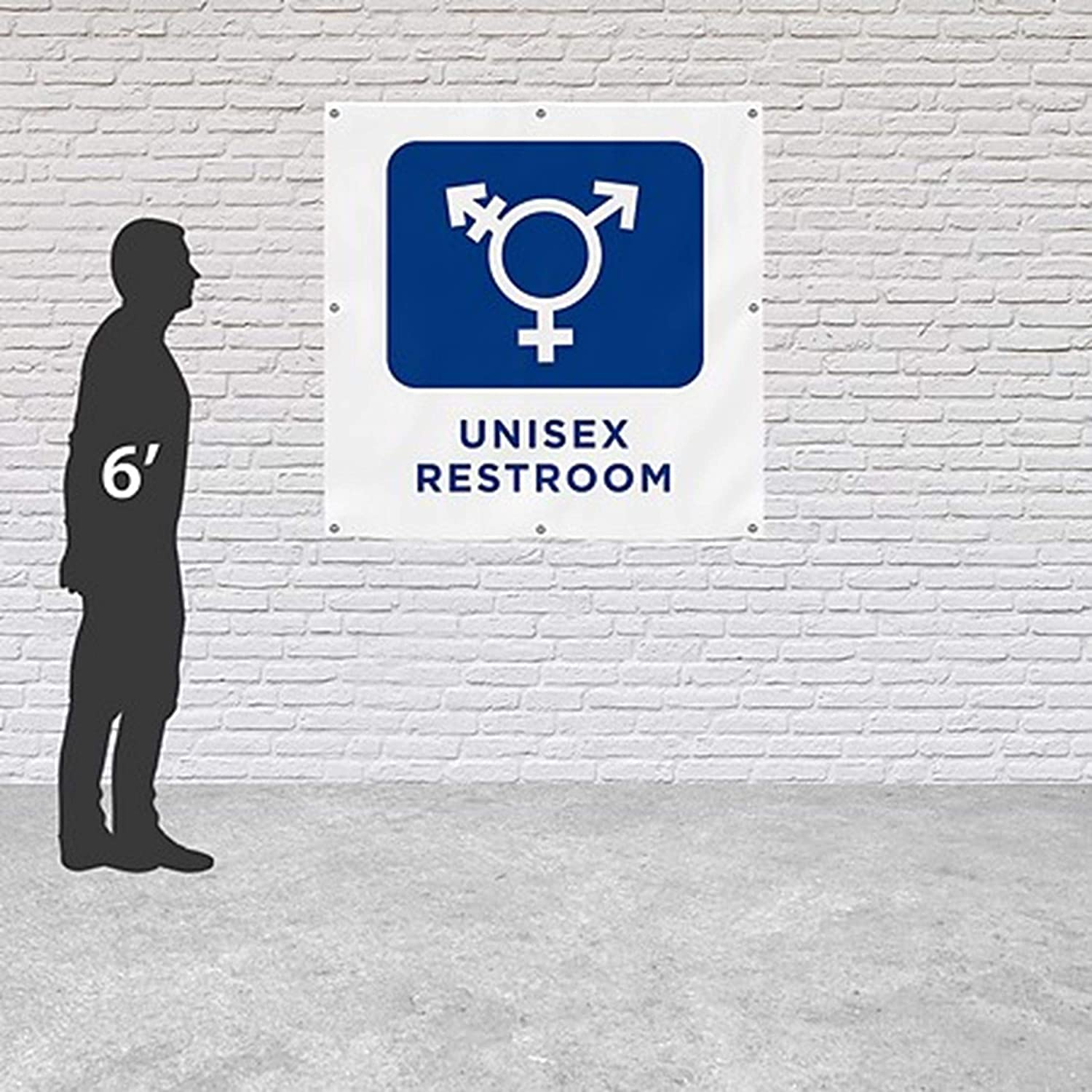 8x8 CGSignLab All-Gender Restroom Sign in Black and White Heavy-Duty Outdoor Vinyl Banner