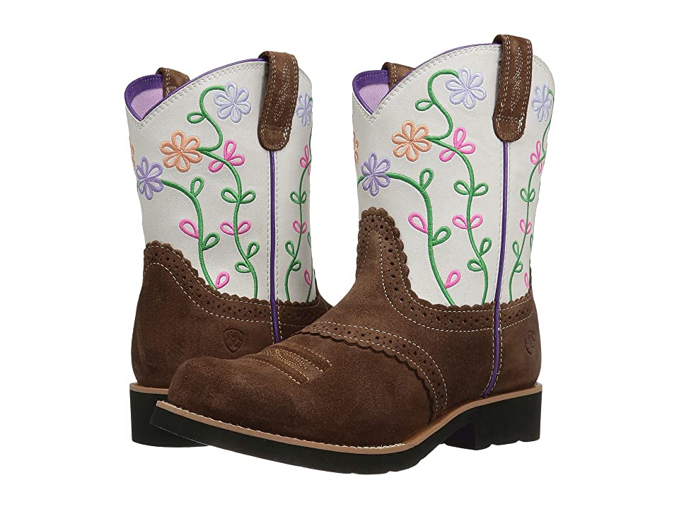 Ariat Kids Fatbaby Blossom (Toddler/Little Kid/Big Kid) (Saddle Tan Suede/Marshmallow) Cowboy Boots