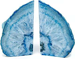 Legacy Of Nature Bookends: Pair Polished 100% Authentic Brazilian Agate Geode Halves Bookends w/Mystery Healing Stone (Blue, 2-4 Pounds)