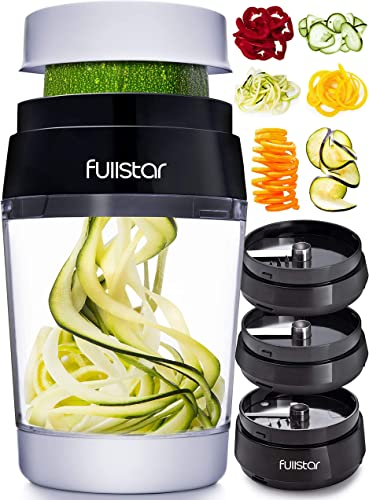 new arrival Fullstar Vegetable Spiralizer Vegetable Slicer wholesale - Zucchini Spaghetti Maker Zoodle wholesale Maker Veggie Spiralizer Adjustable Handheld Spiralizer Zucchini Noodle Maker Zucchini Spiralizer with Container 6 in 1 outlet sale