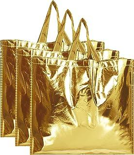 Kuber Industries Reusable Small Size Grocery Bag Shopping Bag with Handle, Non-Woven Gift Bag Goodies Bag Gold Tote Bag-Pa...
