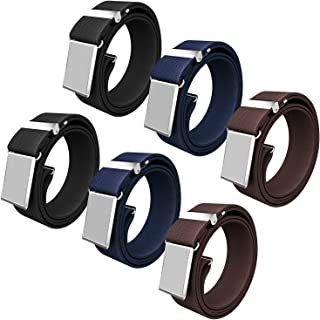 Senker 6PCS Kids Boys Elastic Adjustable Stretch Belt with Silver Square Buckle, 3 Colors
