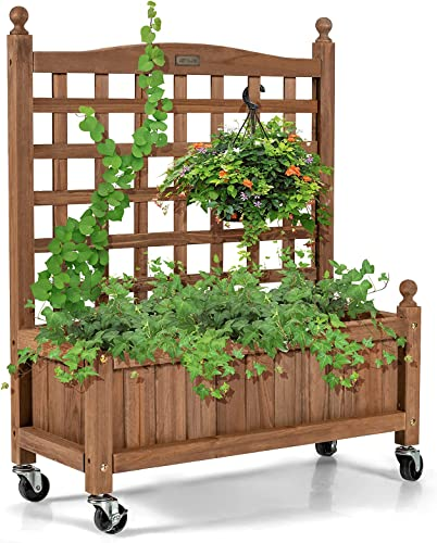 """Giantex Mobile Plant Raised Bed, Wood Planter with Lattice Trellis and Wheels, Flower Box for Plant Climbing, Vertical Garden for Balcony Patio Yard (1, 25""""x 11""""x 32.5"""")"""