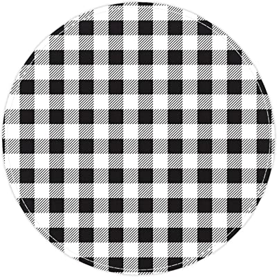 Round Area Rug,Doormats,Carpet,Non Slip for Entryway Living Room Bedroom,Black and White Lattice Pattern