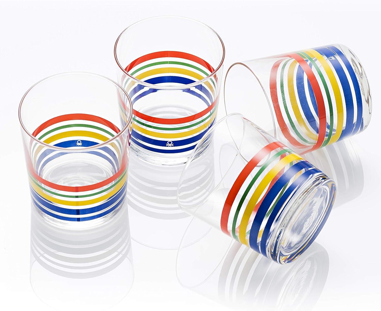 UNITED COLORS OF BENETTON. BE069 Set 4 Piezas Vasos de Agua 0.345 l Cristal Rayas Finas Multicolor Casa Benetton, Glass
