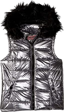 Gal Metallic Foil Vest w/ Colored Faux Fur (Little Kids/Big Kids)