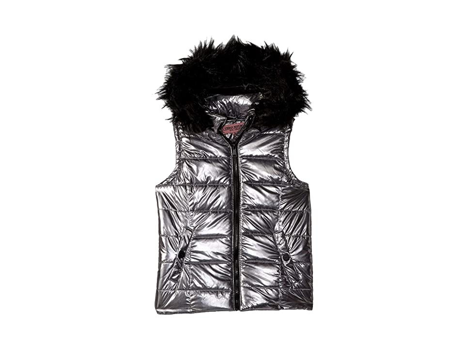 Urban Republic Kids Gal Metallic Foil Vest w/ Colored Faux Fur (Little Kids/Big Kids) (Gunmetal) Girl
