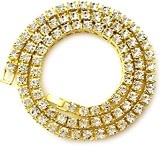 Unisex Iced Out Hip Hop Gold Artificial Diamond cz Tennis Chain 16 18 20 24 30 Inches