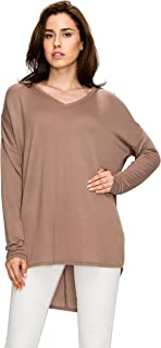 Made By Johnny MBJ WT1904 Womens V Neck Long Sleeve French Terry High Low Loose Top