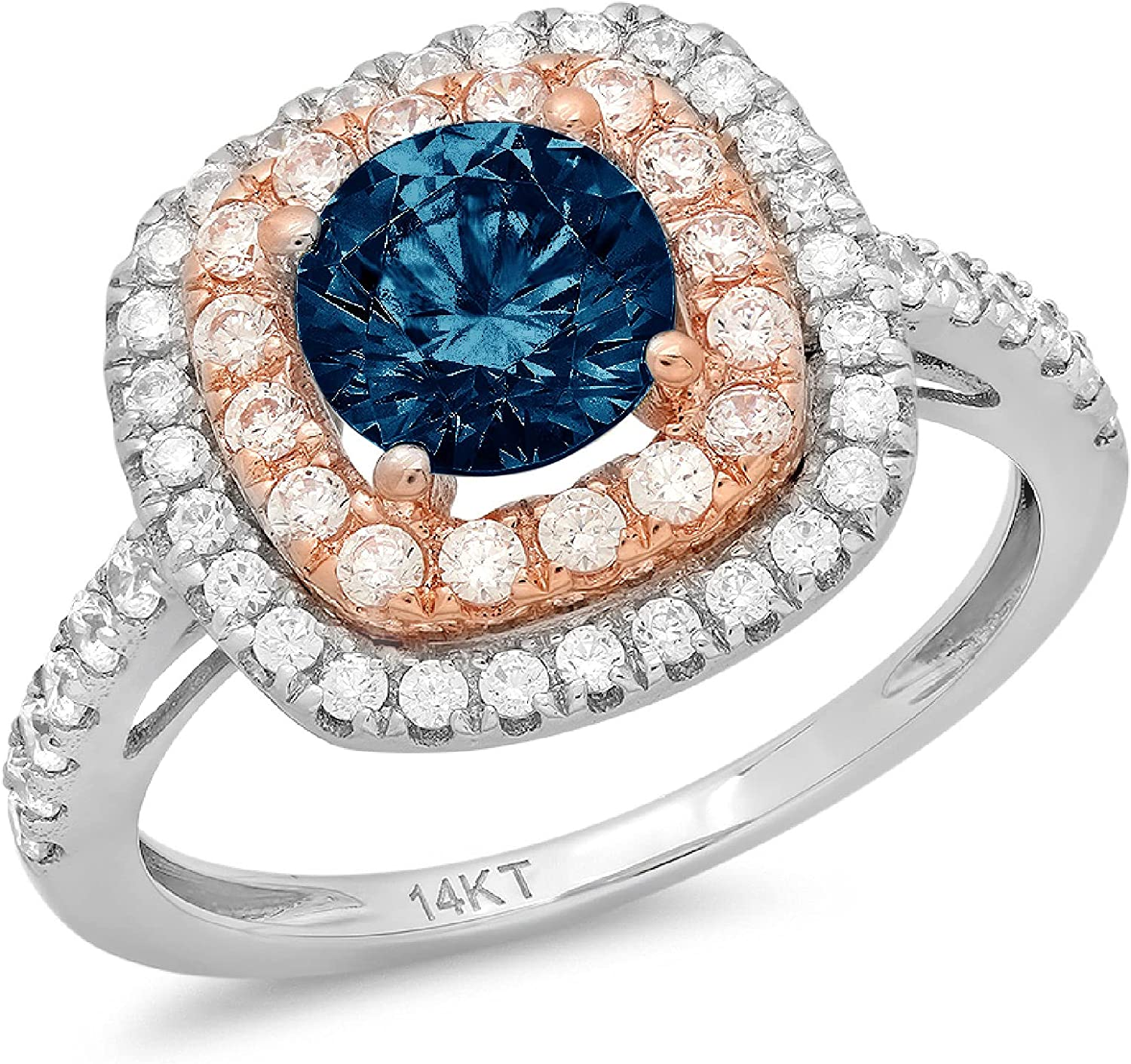 Clara Pucci 1.85 ct Round Cut Solitaire Accent double Halo Stunning Genuine Flawless Natural London Blue Topaz Gem Designer Modern Statement Ring Solid 18K two tone Gold