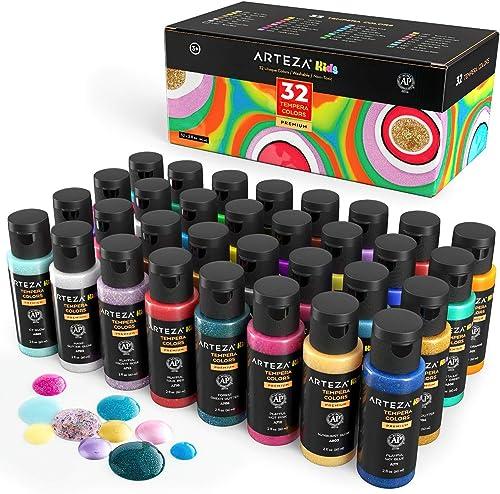 Arteza Tempera Washable Paint for Kids, Set of 32, 2.03oz/60ml Bottles, Poster Paint for Craft Projects, Sponge Paint...