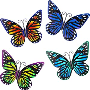 4 Pieces Metal Butterfly Wall Art Decor, 3D Butterfly Wall Hanging Decor Sculpture, Wrought Iron Hollowed-Out Butterfly Mural for Balcony Patio Living Room Garden Outdoor Fence Decor (Classic Style)