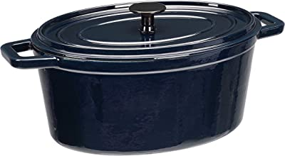 AmazonBasics Z4715MB Premium Enameled Cast Iron Oval Dutch Oven, 6-Quart, Deep Blue