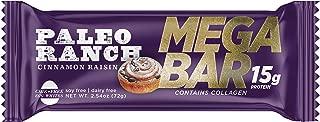 (12 Pack) PALEO RANCH 15 Grams Protein MEGA BAR, Cage Free Egg White Protein, Collagen, Non-GMO, Gluten Free, 2.54 Ounce, Cinnamon Raisin
