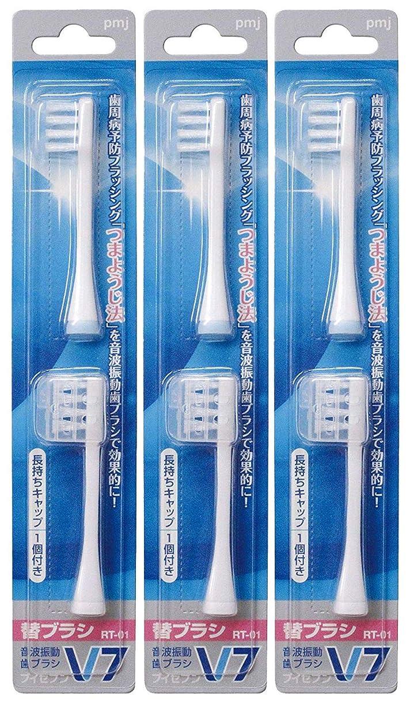 つまようじ法 音波振動歯ブラシ V-7 専用替ブラシ × 3個