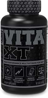 Vita-XT Black Multivitamin for Men - Mens Daily Multivitamins w/ Chelated Minerals, Vitamin A, C, D, E, K, Iron, & Primavi...