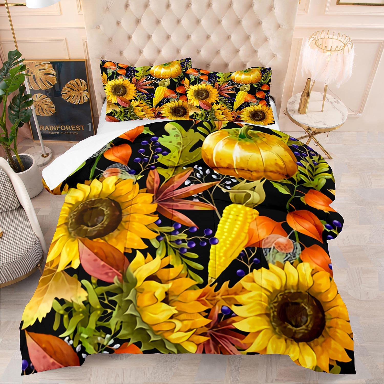 HMT NF Yellow Financial sales sale Sunflower Comforter Set New sales King for Kids Girls Size C