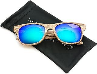 Faux Wood Print Reflective Revo Color Lens Horn Rimmed Sunglasses