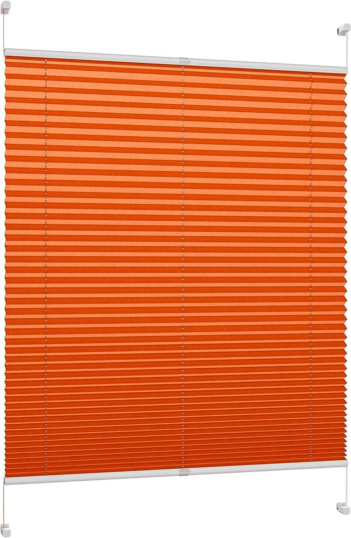 DecoProfi PLISSEE Orange, verspannt, verspannt, verspannt, Breite 90cm x 130cm (max. Gesamthöhe Fensterflügel), mit Klemmträger Klemmfix ohne Bohren B0713YZYY7 3c6634