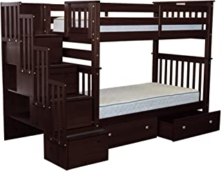 Bedz King Tall Stairway Bunk Beds Twin over Twin with 4 Drawers in the Steps and 2 Under Bed Drawers, Cappuccino