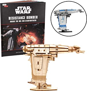 Star Wars Resistance Bomber Book and 3D Wood Model Figure Kit - Build, Paint and Collect Your Own Wooden Movie Toy Model - Great for Kids and Adults, 12+ - 4 3/4