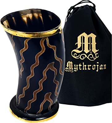 Mythrojan Drinking Horn Shot Glass Authentic Medieval Inspired Viking Wine/Mead 250 ML – Polished Finish