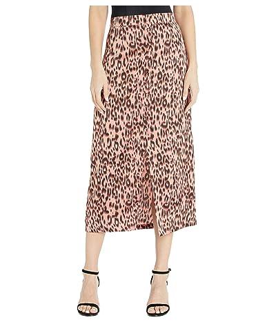 Jack by BB Dakota Printed Leopard Reverse Crepon Midi Skirt (Rose) Women