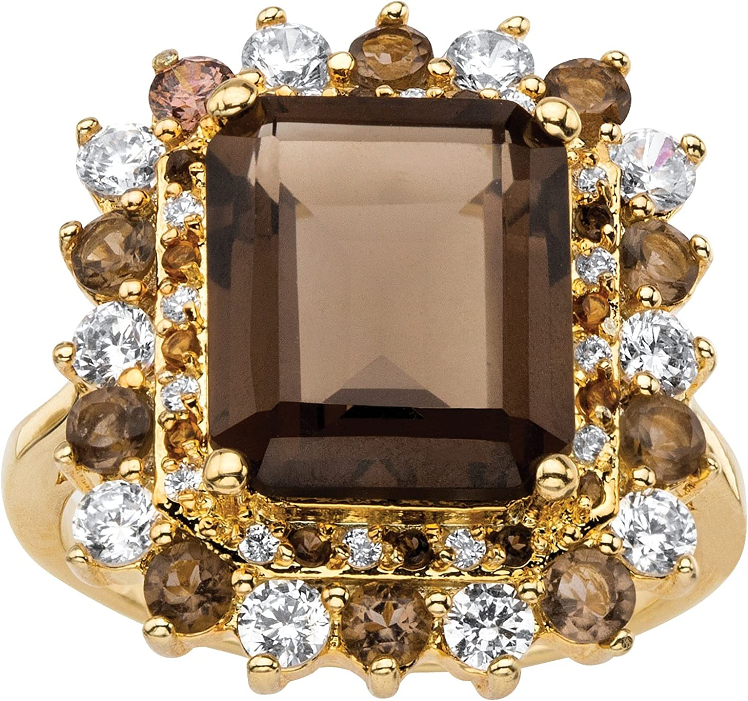Yellow Gold-Plated Emerald Cut Genuine Smoky Topaz, Mystic Fire Purple or Blue Glass and Cubic Zirconia Ring