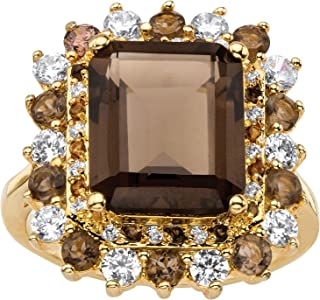14K Yellow Gold Plated Emerald Cut Genuine Smoky Topaz and Cubic Zirconia Ring