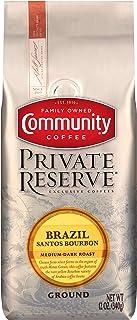 Community Coffee Brazil Santos Bourbon Medium Dark Roast Gourmet Private Reserve Ground 12 Oz Bag (3 Pack), Medium Full Body Smooth Mellow Taste, 100% Specialty Grade Arabica Coffee Beans