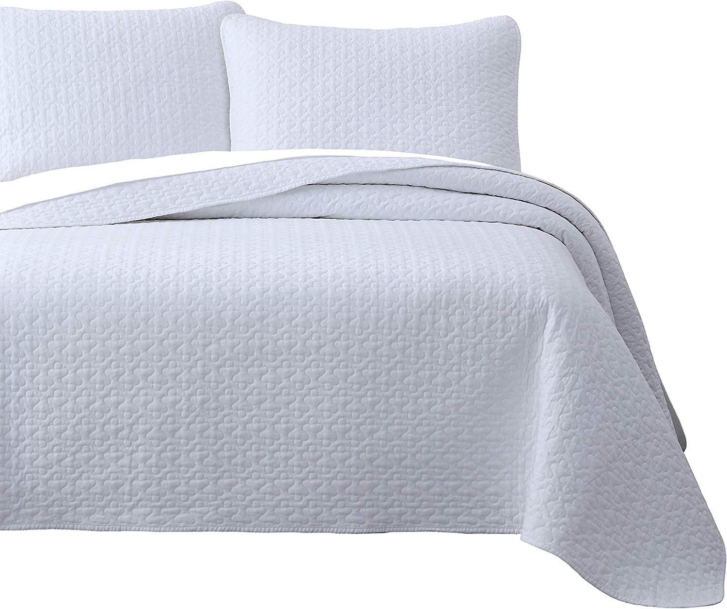 Vega Prewashed 3 Piece Quilted Quilt, Coverlet & Bed Cover Set, Stitched Pattern, Solid color, Soft Microfiber Shell 100% Cotton Filling   White   King Cal-King Size Bedspread