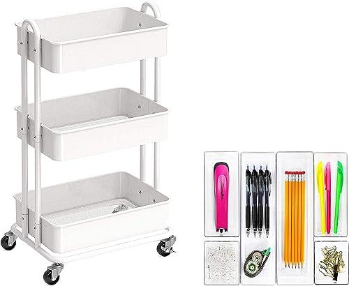 SimpleHouseware Heavy Duty 3-Tier Metal Utility Rolling Cart + 6 Pack - Plastic Desk Drawer Organizers