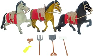 Toyland 3 Flocked Horses Equestrian Stable Set With Accessories