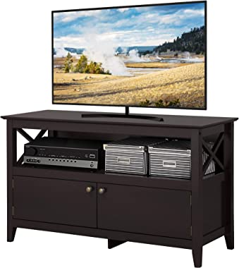 YAHEETECH X Shape Wooden TV Stand Base Console Storage Cabinet Home Media Entertainment Center with 2 Doors Living Room Furni
