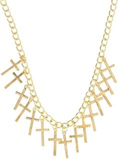 Crosses Bib Necklace Gold Tone Statement NO59 Fashion Jewelry