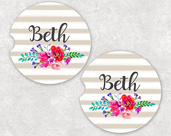 Monogrammed Car Coasters Absorbent Sandstone Tan Stripe Pink Flowers SET Of 2