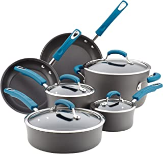 Rachael Ray 87650 Brights Hard Anodized Nonstick Cookware Pots and Pans Set, 10 Piece, Gray with Marine Blue Handles