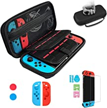 Nintendo Switch Carry Case, Espistmo 6in1 Portable Protective Hard Shell Cover Travel Storage Bag with 20 Game Cartridge for Nintendo Switch Console & Accessories Rocker Cover Controller Protector