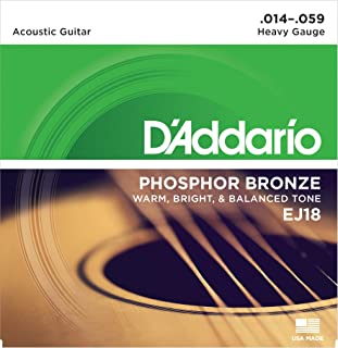 D'Addario EJ18 Phosphor Bronze Acoustic Guitar Strings, Heavy (1 Set) – Corrosion-Resistant Phosphor Bronze, Offers a Warm, Bright and Well-Balanced Acoustic Tone and Comfortable Playability
