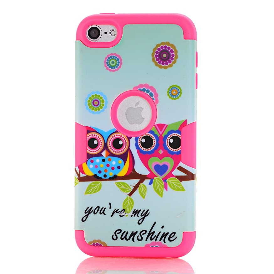 Rosepark iPod Touch 5 case,iPod Touch 6 Case, (TM) [Owls Pattern] 3-Piece Style Hybrid Shockproof Hard Case Cover for Apple iPod Touch 5 6th Generation(Hot Pink),with Screen Protector+Stylus