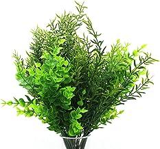 CVHOMEDECO. Artificial Plants Faux Boxwood Shrubs 3 PCS & Rosemary 3 PCS, Lifelike Greenery Foliage with 42 Stems for Gard...