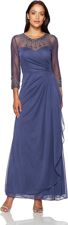 Alex Evenings Womens Petite Long Aline Illusion Sweetheart Neck Dress Dress