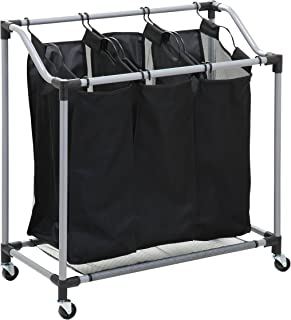 Honey-Can-Do Triple Laundry Sorter with Mesh Bags, Steel/Black